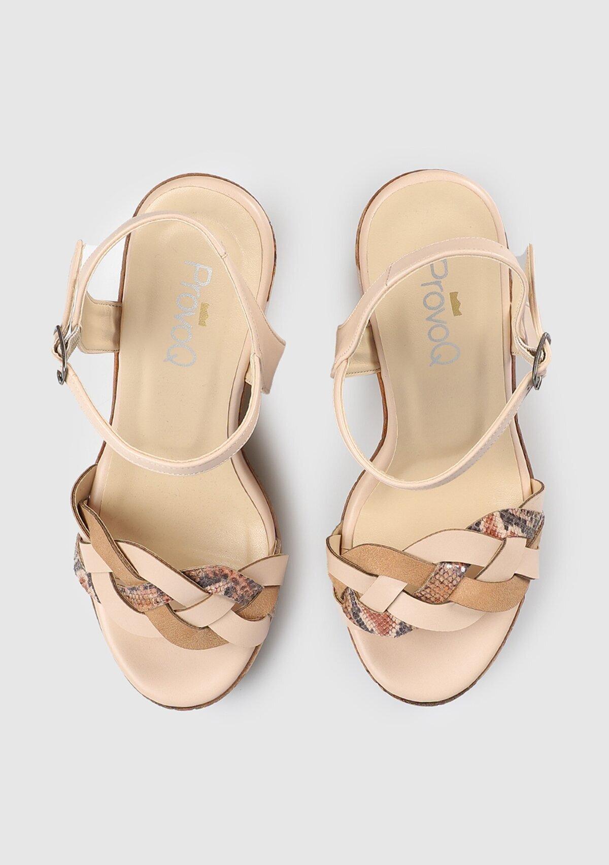 resm Pudra Kadın Topuklu Sandalet