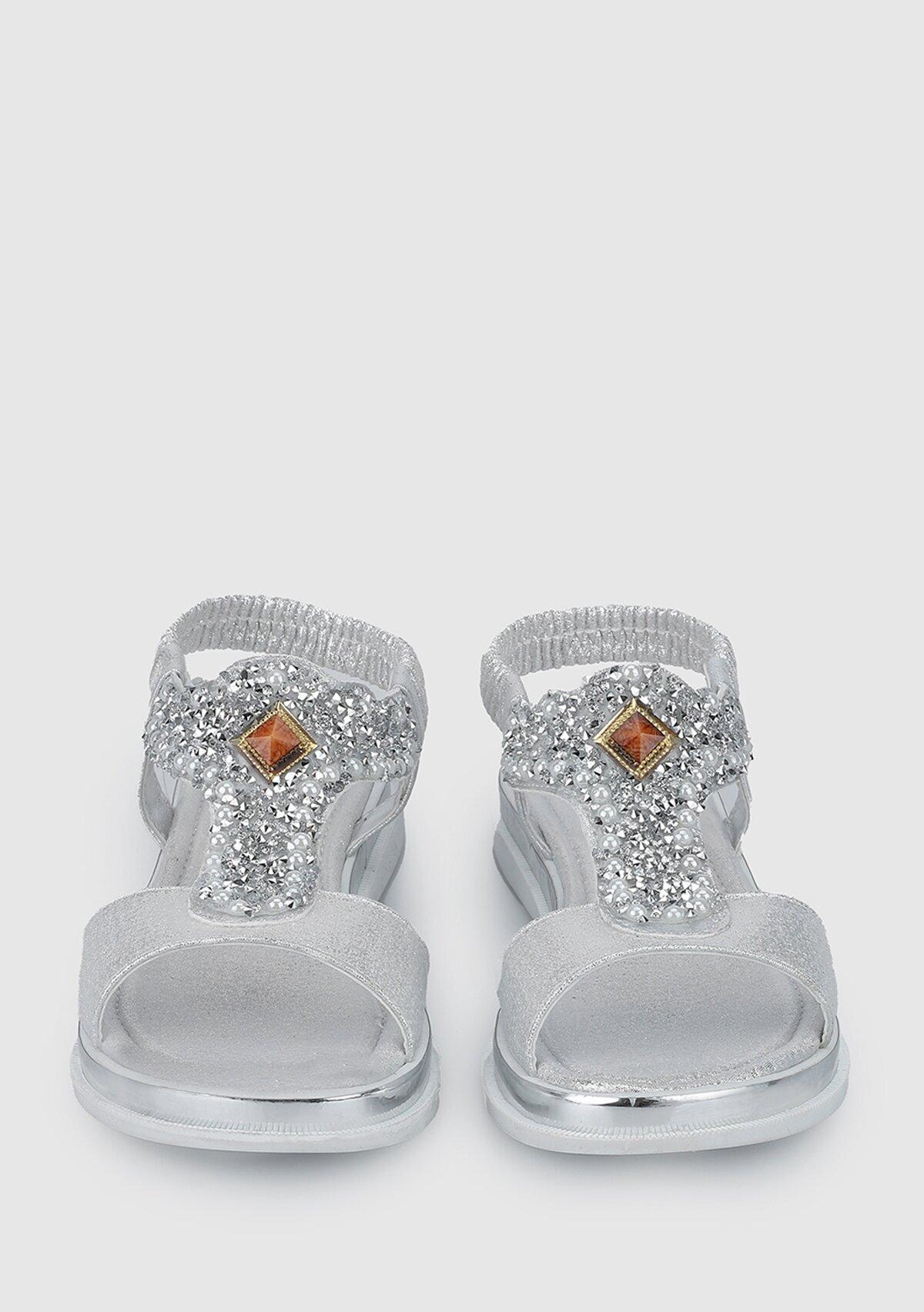 resm Gümüş Kız Çocuk Düz Sandalet