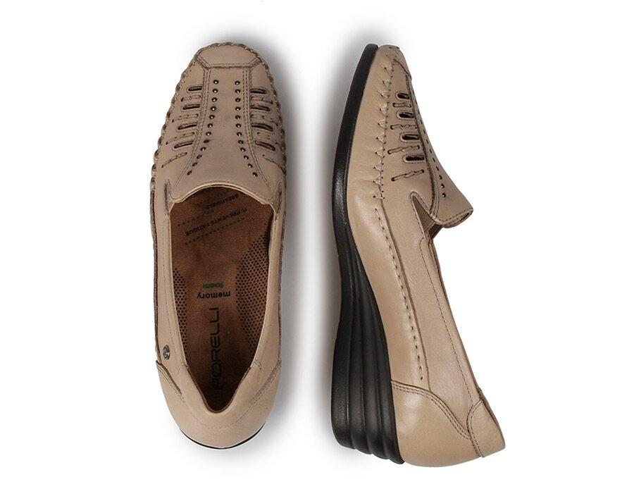 resm Bej Deri Kadın Konfor Ayakkabı