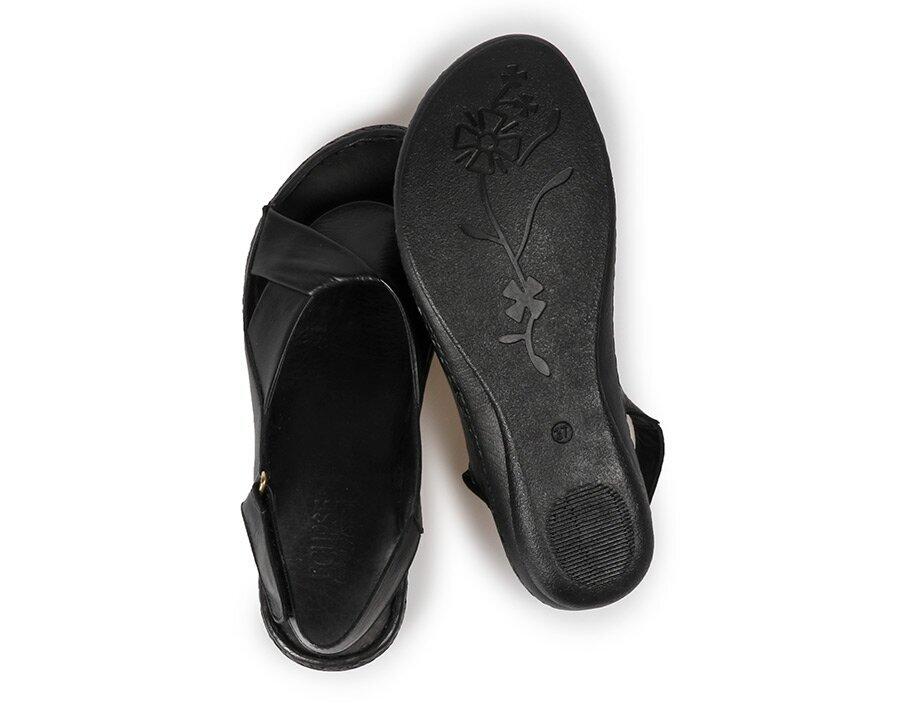 resm Siyah Deri Kadın Konfor Sandalet