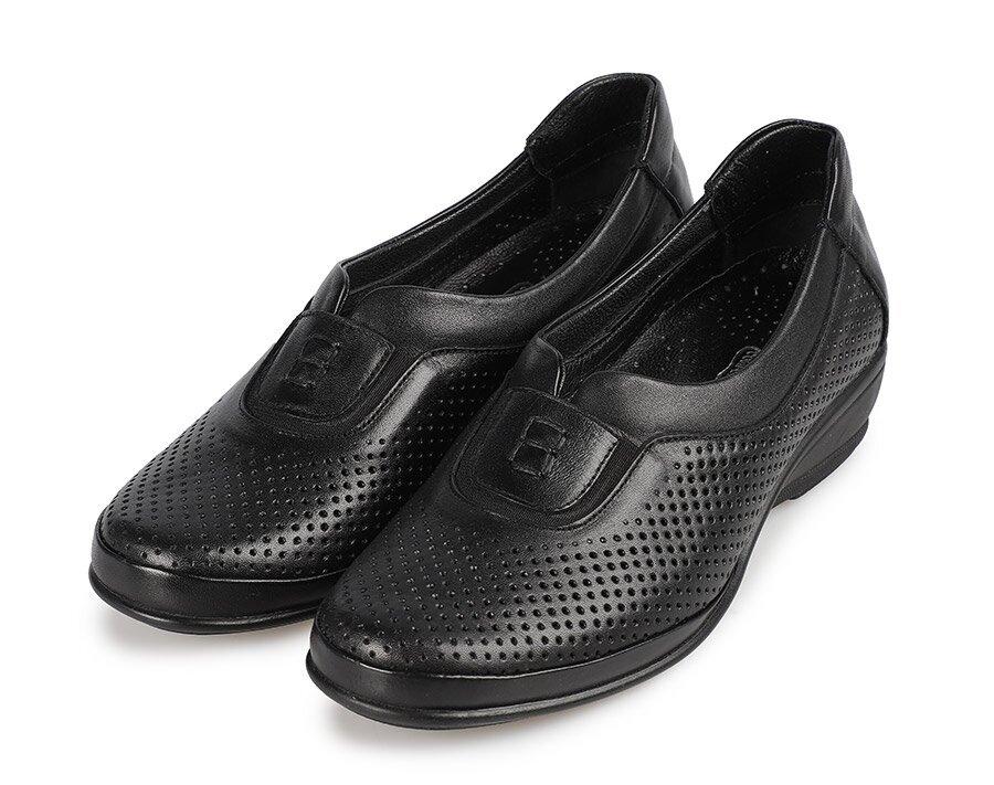 resm Siyah Deri Kadın Konfor Ayakkabı