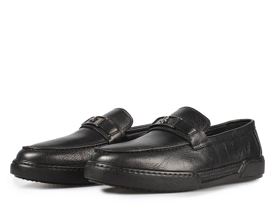 resm Siyah Deri Erkek Makosen Ayakkabı