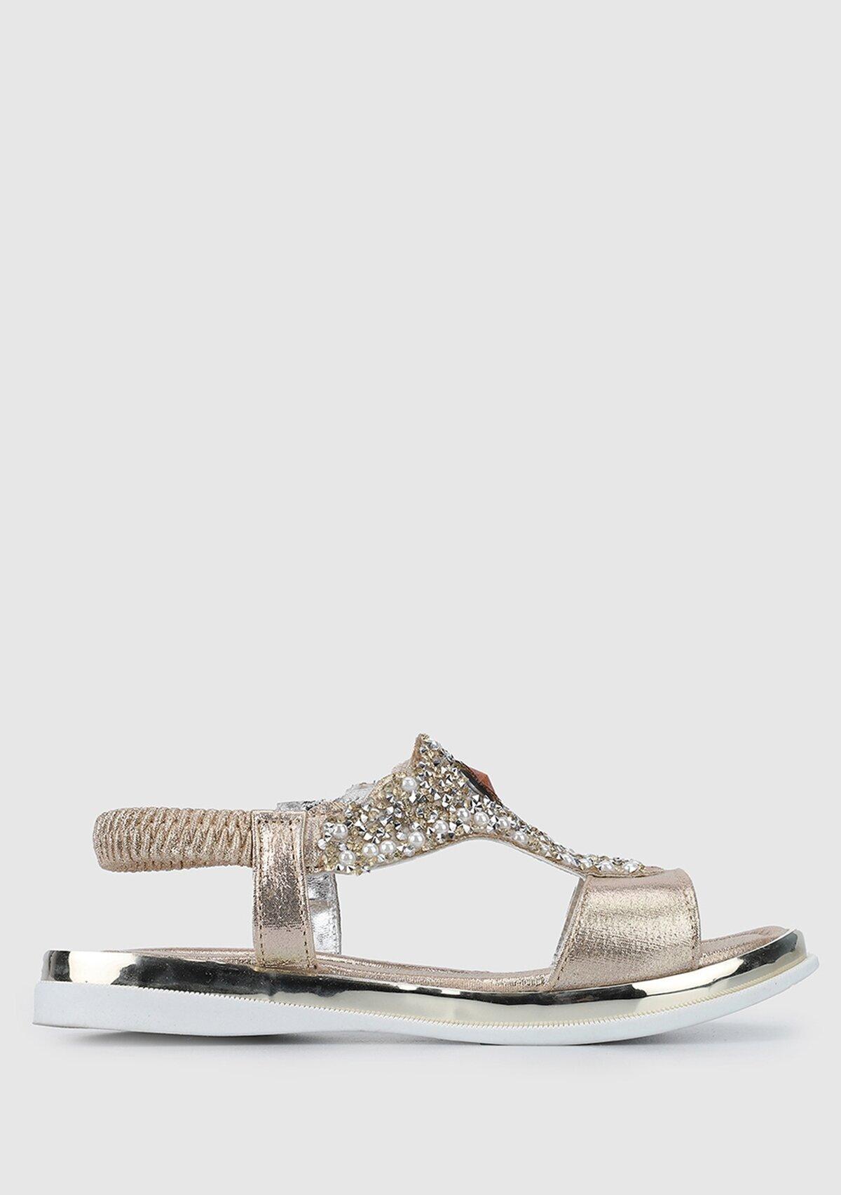 resm Altın Kız Çocuk Düz Sandalet