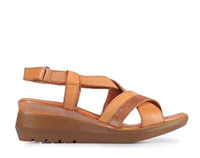 Resim Taba Deri Kadın Topuklu Sandalet