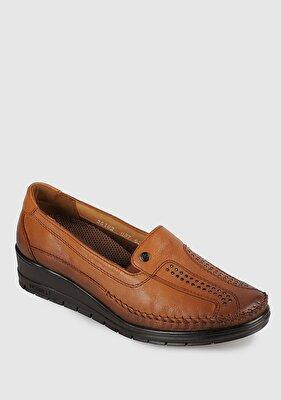Resim Taba Deri Kadın Konfor Ayakkabı