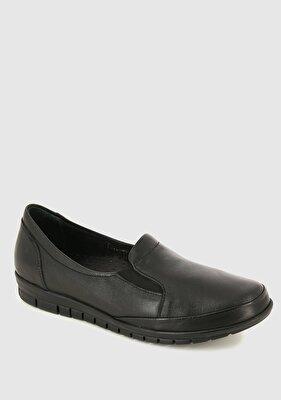 Resim Siyah Deri Kadın Konfor Ayakkabı