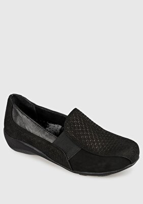 Resim Siyah Deri Nubuk Kadın Konfor Ayakkabı