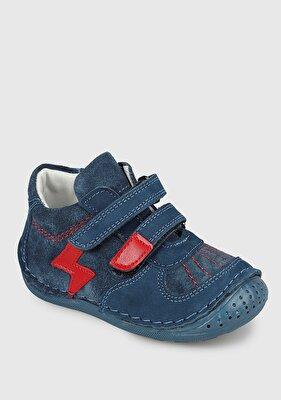 Resim Mavi Deri Süet Erkek Çocuk Ayakkabı