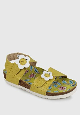 Resim Sarı Kız Çocuk Düz Sandalet