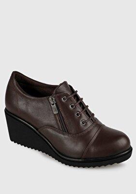 Resim Kahve Deri Kadın Konfor Ayakkabı