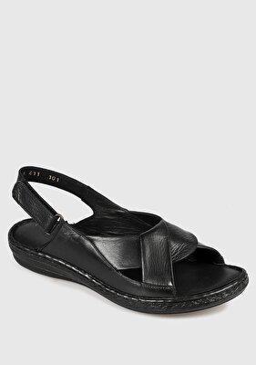 Resim Siyah Deri Kadın Konfor Sandalet