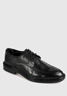 Resim Siyah Deri Erkek Oxford Ayakkabı