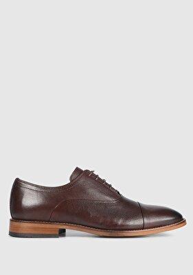 Resim Kahve Deri Erkek Oxford Ayakkabı