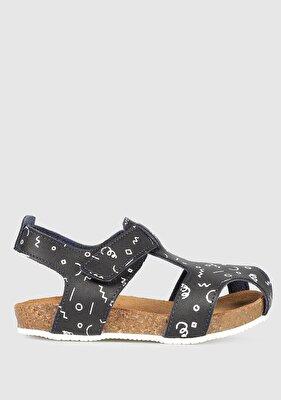 Resim Siyah Erkek Çocuk Düz Sandalet