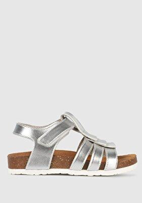Resim Gümüş Kız Çocuk Düz Sandalet