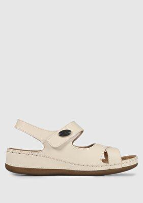Resim Bej Deri Kadın Konfor Ayakkabı