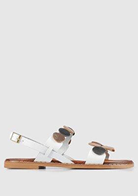 Resim Beyaz Deri Kadın Düz Sandalet