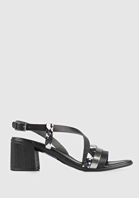 Resim Siyah Deri Kadın Topuklu Sandalet
