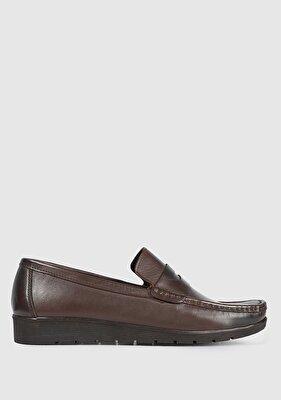 Resim Kahve Deri Erkek Makosen Ayakkabı