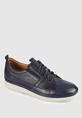 Resim Lacivert Deri Erkek Casual Ayakkabı
