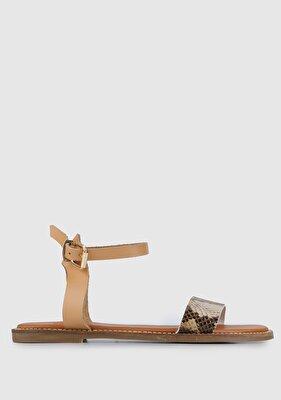 Resim Camel-Bej Kadın Düz Sandalet