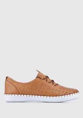 Resim Taba Deri Kadın Casual Ayakkabı