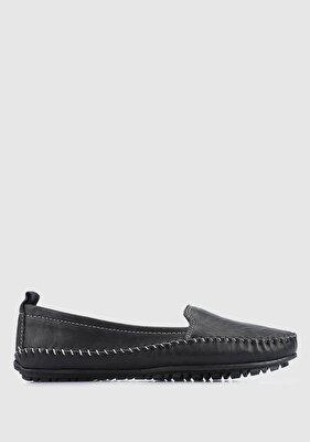 Resim Siyah Deri Kadın Casual Ayakkabı