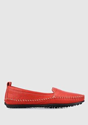 Resim Kırmızı Deri Kadın Casual Ayakkabı