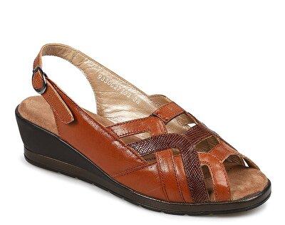 Resim Taba Deri Kadın Konfor Sandalet