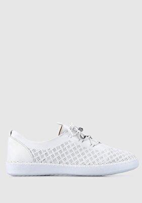 Resim Beyaz Deri Kadın Casual Ayakkabı