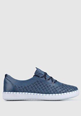 Resim Lacivert Deri Kadın Casual Ayakkabı