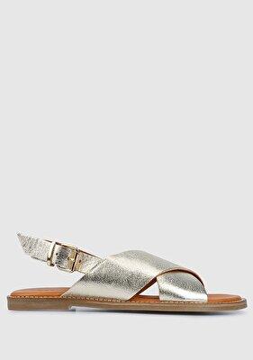 Resim Altın Kadın Düz Sandalet