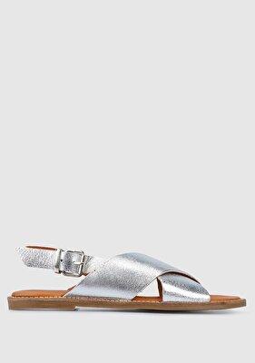 Resim Gümüş Kadın Düz Sandalet