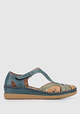 Resim Jean Mavi Deri Kadın Konfor Sandalet