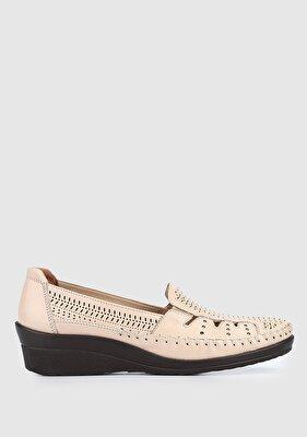 Resim Bej Deri Kadın Casual Ayakkabı