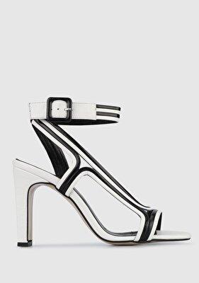 Resim Beyaz-Siyah Kadın Topuklu Sandalet