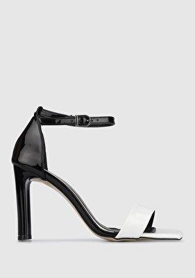 Resim Siyah-Beyaz Kadın Topuklu Sandalet