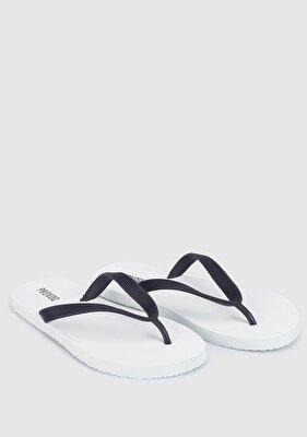 Resim Beyaz-Lacivert Erkek Plaj Terliği