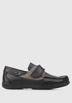 Resim Siyah Deri Erkek Çocuk Sneaker