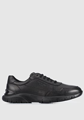 Resim Siyah Deri Erkek Sneaker