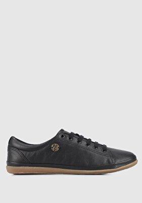 Resim Siyah Deri Kadın Sneaker