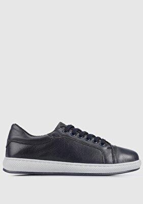 Resim Lacivert Deri Kadın Sneaker