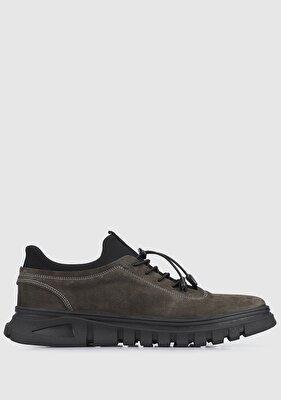 Resim Gri Deri Erkek Ayakkabı