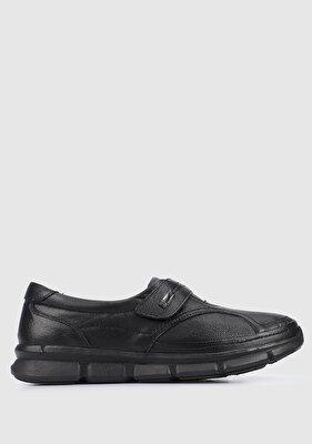 Resim Siyah Deri Kadın Klasik Ayakkabı